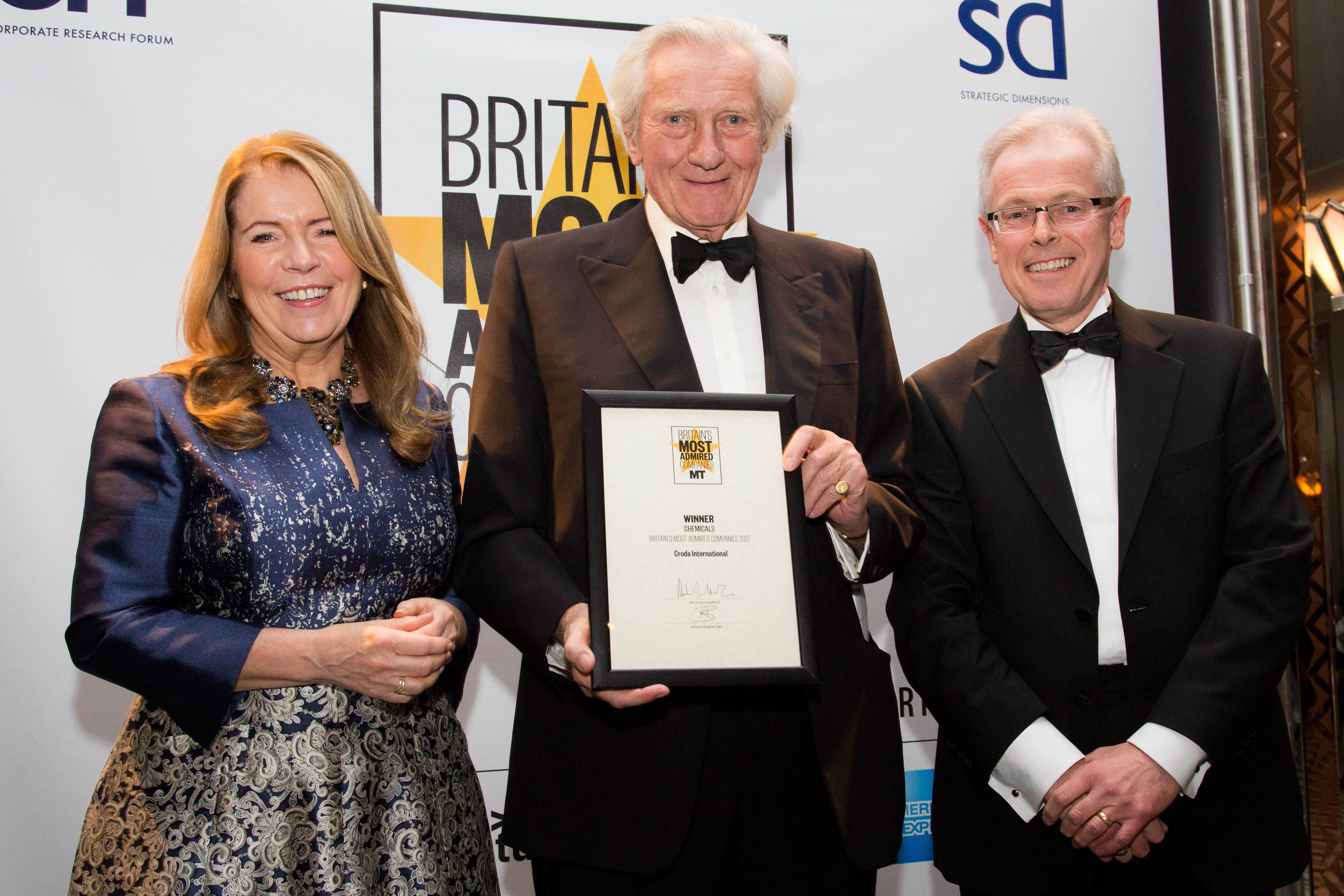 Croda board members accepting Britain's Most Admired Company in the Chemical Sector 2017 award